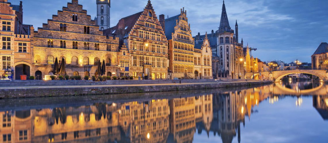 Image of Ghent, Belgium during twilight blue hour.